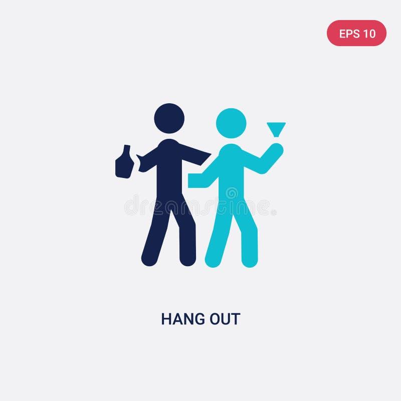 la couleur deux traînent l'icône de vecteur du concept d'activités le bleu d'isolement accrochent le symbole de signe de vecteur  illustration de vecteur