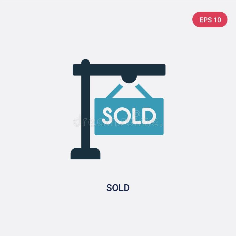 La couleur deux a vendu l'icône de vecteur du concept d'immobiliers le symbole vendu bleu d'isolement de signe de vecteur peut êt illustration stock