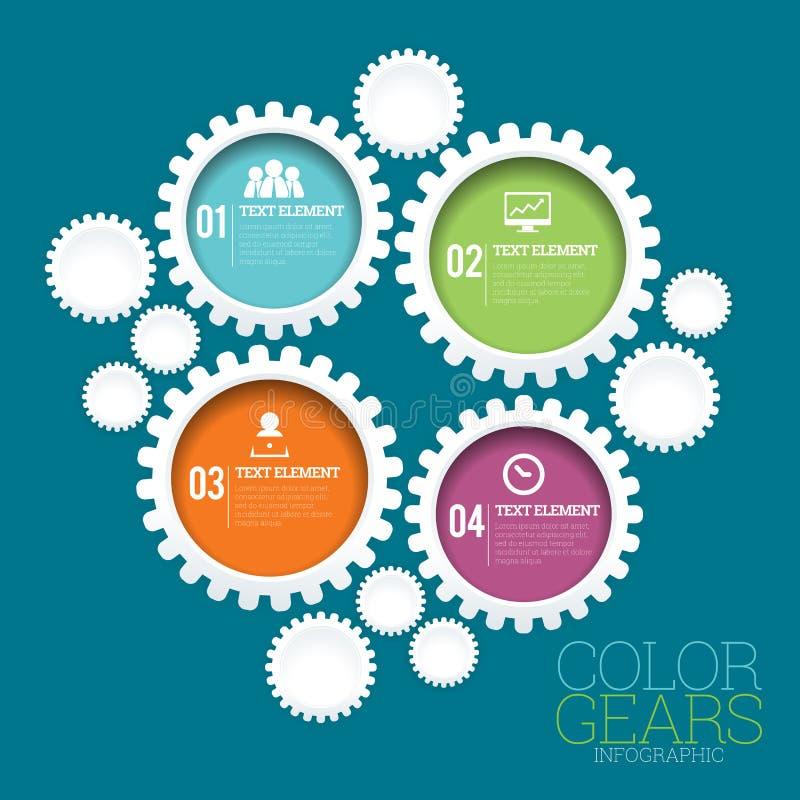 La couleur embraye Infographic illustration stock
