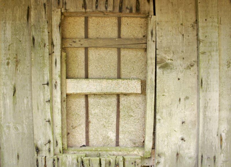 La couleur naturelle a vieilli le mur en bois non traité non traité de stockage avec les clous saillants de fer et a embarqué ver image libre de droits