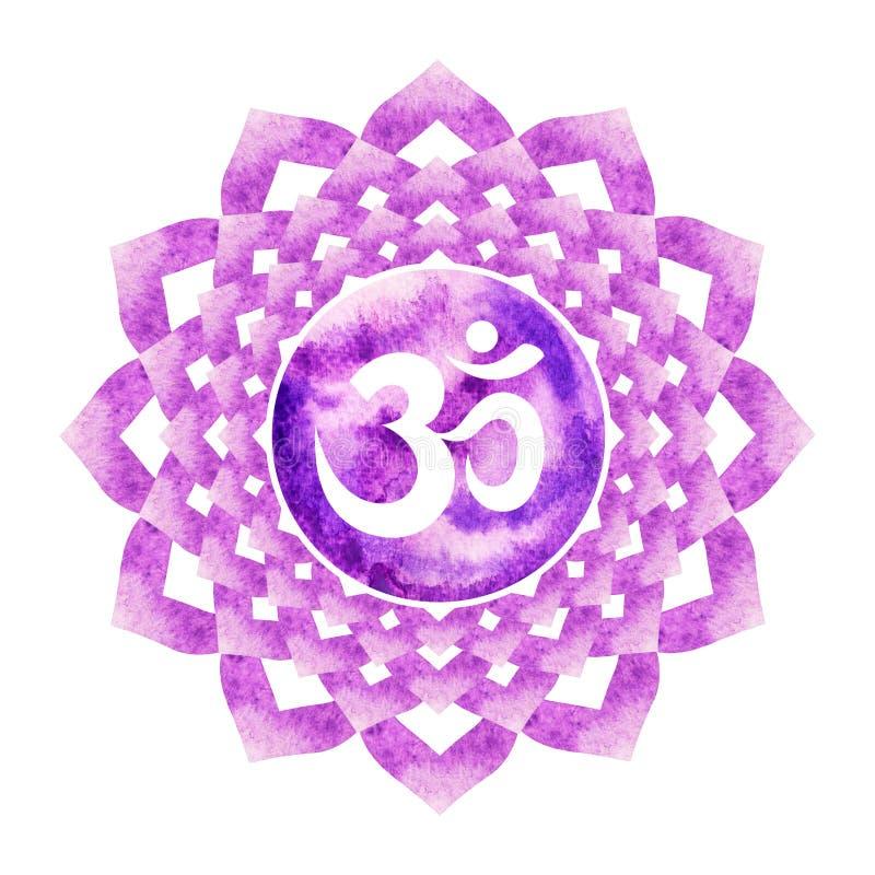 La couleur pourpre du concept de couronne de symbole de chakra, fleurissent floral illustration libre de droits