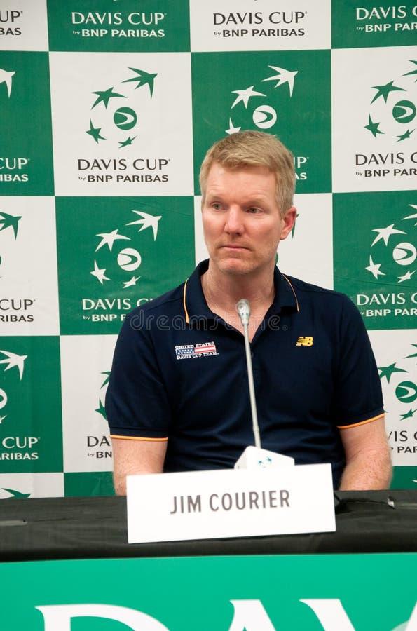 La Coupe Davis 2018, NIS, centre de sports Cair SERBIE contre les Etats-Unis, deuxième jour, 03 Février 2018, conférence de press photo libre de droits