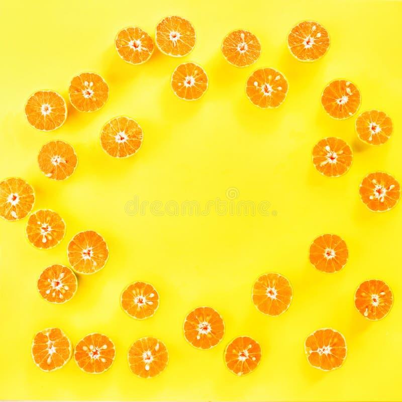 La coupe de mandarine de fruit de vue segmente l'orange illustration libre de droits