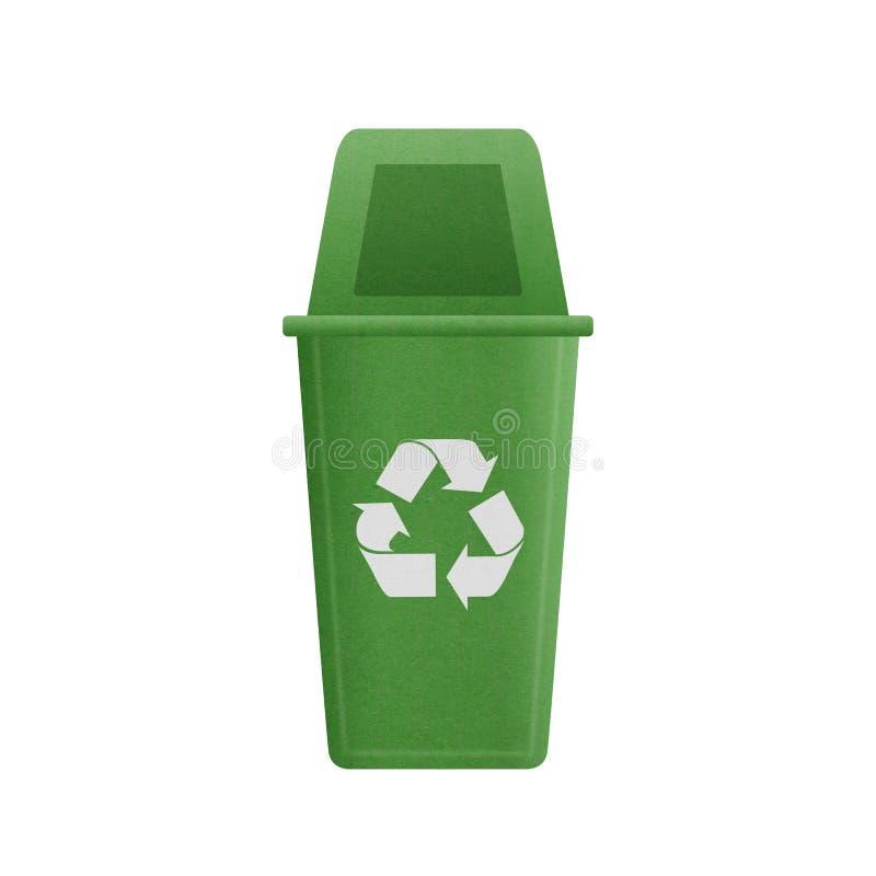 La coupe de papier du vert réutilisent la poubelle est peut réutilisant aux déchets pour e illustration libre de droits