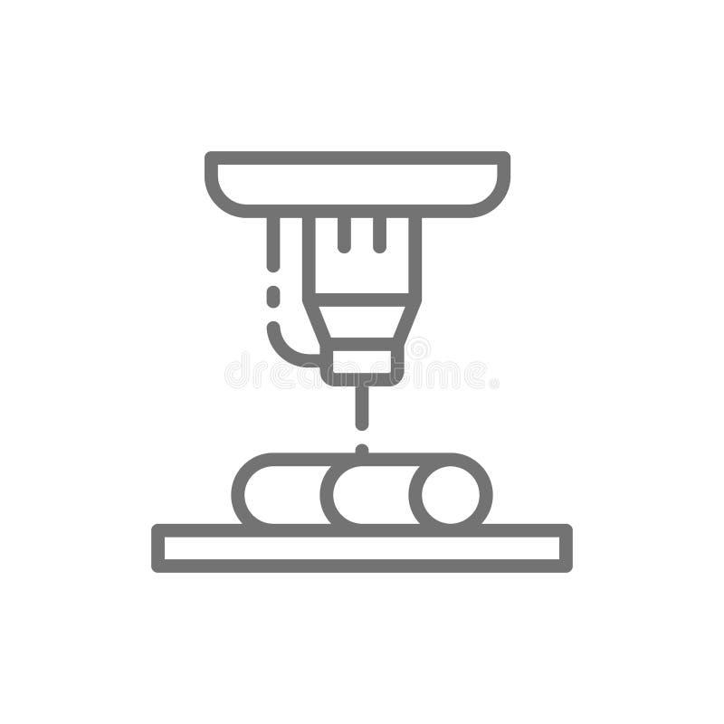 La coupe en métal de laser, les lasers industriels rayent l'icône illustration stock