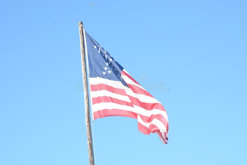 La cour de repli de fort était où le drapeau américain a fièrement volé images libres de droits