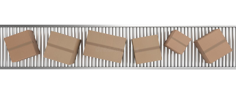 la courroie enferme dans une boîte le convoyeur de carton illustration libre de droits