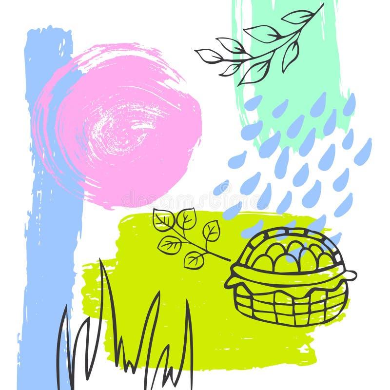 La course abstraite tirée par la main d'art de pinceau de Pâques de ressort a donné une consistance rugueuse et a décrit au fond  illustration de vecteur