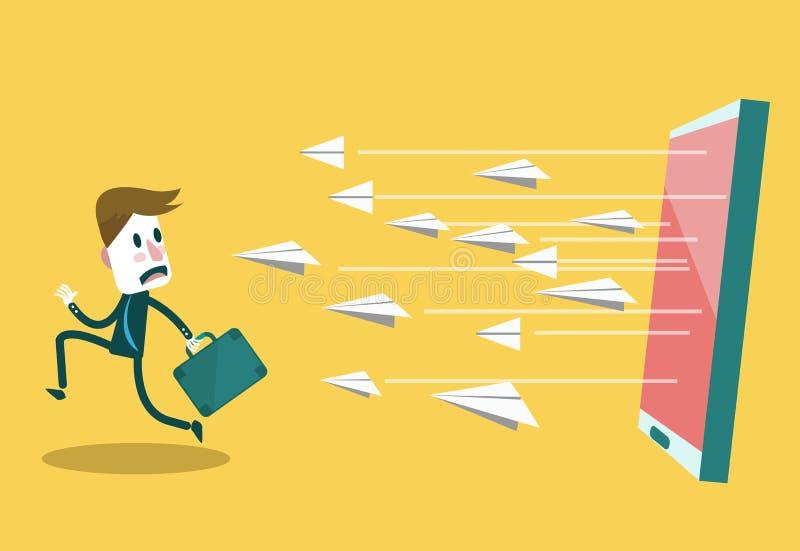 La course d'homme d'affaires à partir de l'email attirent Vente de Digital et mise en réseau sociale conceptuelles illustration libre de droits