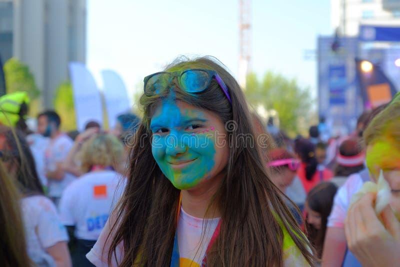La course 2017 de couleur à Bucarest, Roumanie photo stock