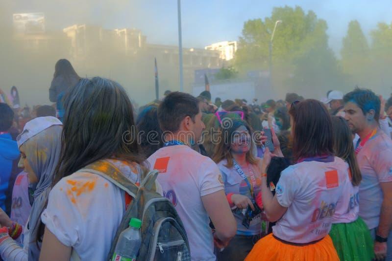 La course 2017 de couleur à Bucarest, Roumanie photos libres de droits