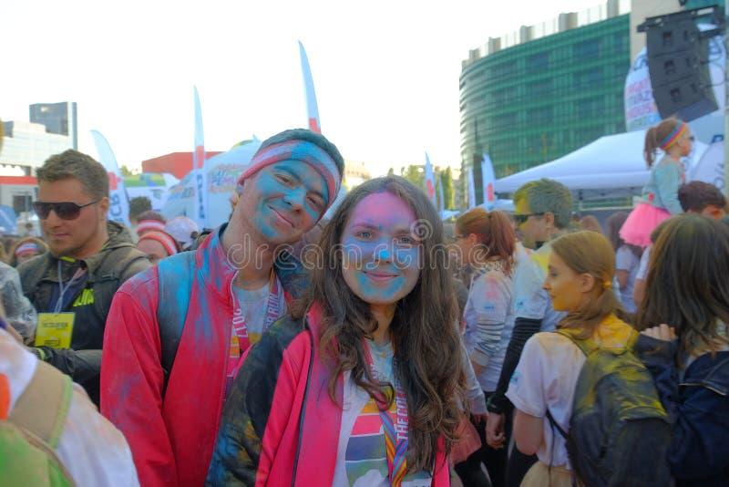 La course 2017 de couleur à Bucarest, Roumanie image stock