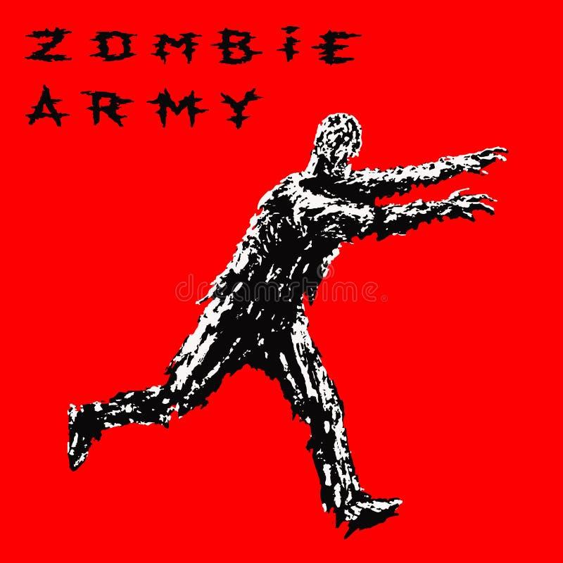 La course de soldat de zombi avec des bras a tendu en avant Illustration de vecteur illustration libre de droits