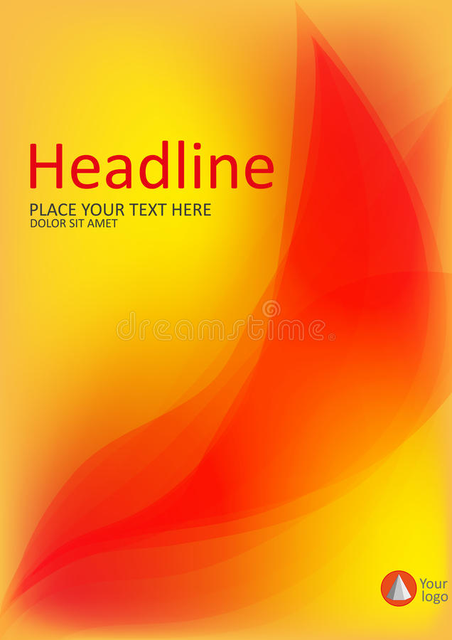La couverture avec le feu abstrait part sur le fond jaune A4 Vecteur illustration de vecteur