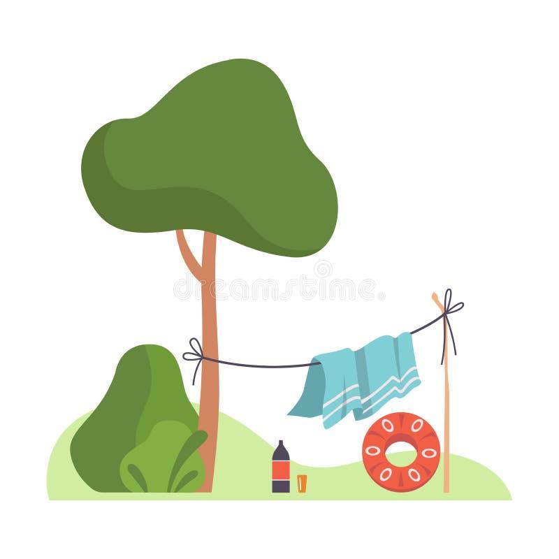 La couverture est séchée sur une corde près d'un arbre Illustration vectorielle illustration de vecteur