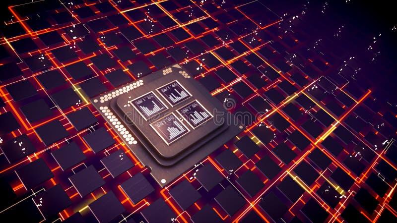La CPU ajusta el brillo en ciberespacio futurista ilustración del vector