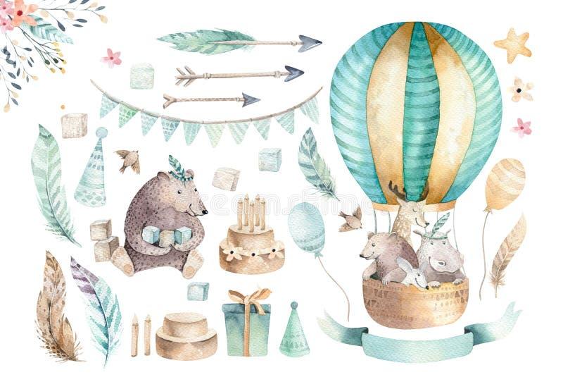 La crèche mignonne de bébé sur le ballon a isolé l'illustration pour des enfants Ours d'aquarelle de Bohème, hipo de chat et cerf