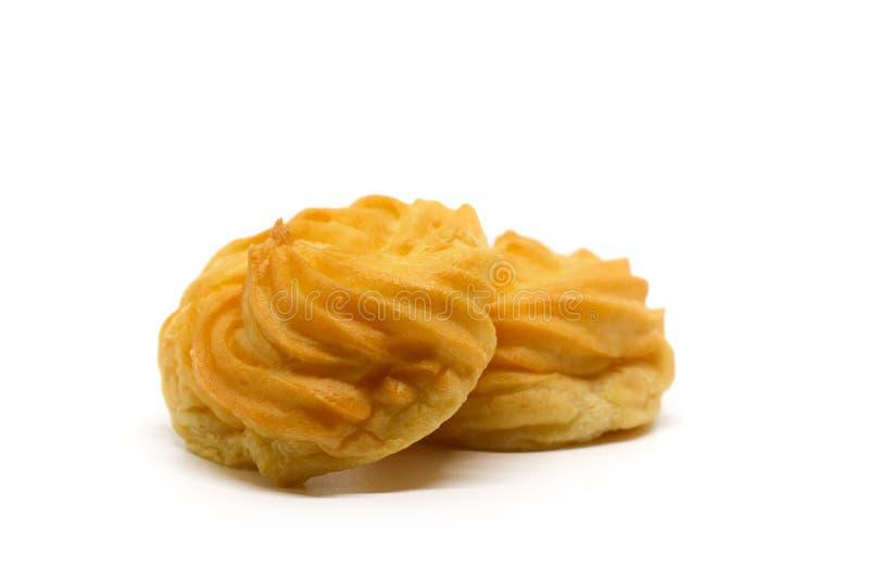 La crème délicieuse de vanille d'eclair, pâte de choux a rempli de la crème, photos libres de droits