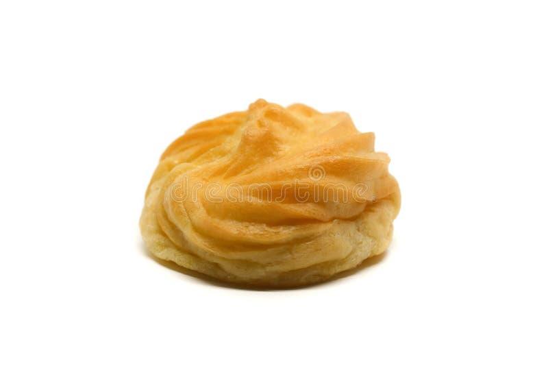 La crème délicieuse de vanille d'eclair, pâte de choux a rempli de la crème, image libre de droits