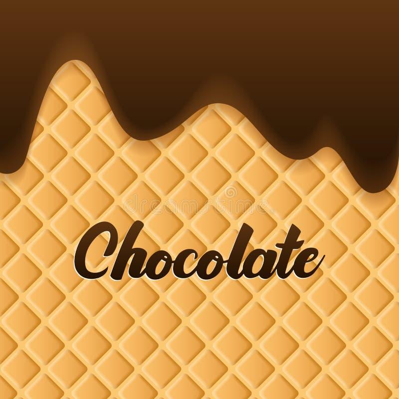 La cr?me de chocolat a fondu sur le fond de gaufrette illustration stock