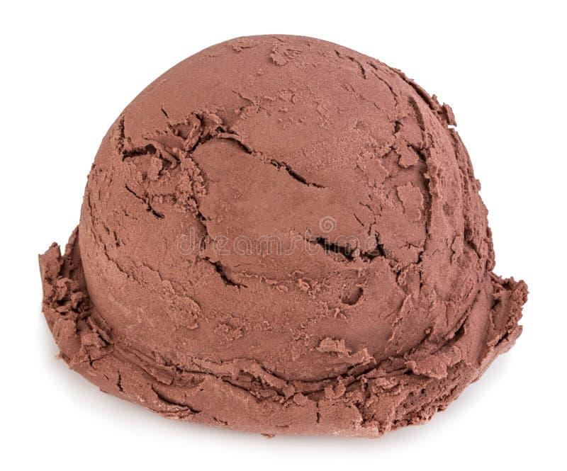 La crème glacée de chocolat écope la vue de côté sur le fond blanc avec le chemin de coupure photographie stock