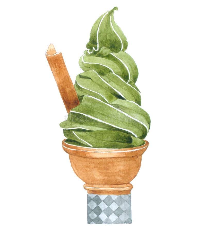 La crème glacée de thé vert d'aquarelle sur le fond blanc, crème glacée pour décoratif et conçoivent, modèlent l'emballage illustration stock