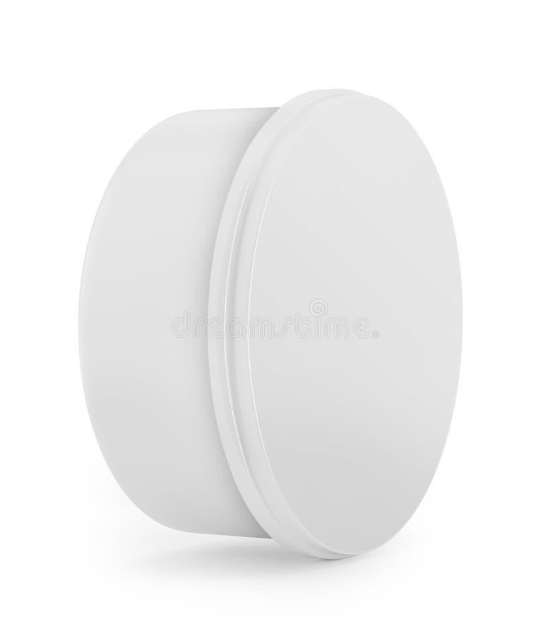 La crème, le gel ou la poudre, gris-clair, blancs, pot peuvent couvrir la bouteille Préparez pour votre conception Emballage de p photo stock