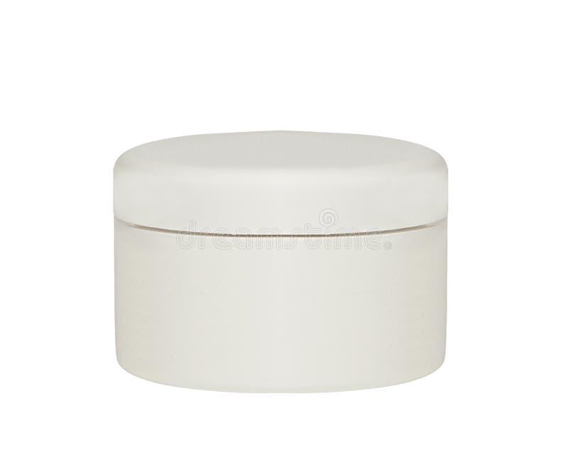 La crème, le gel ou la poudre, pot blanc léger peuvent couvrir la bouteille image stock