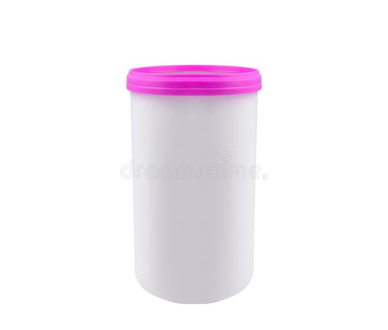 La crème, le gel ou la poudre cosmétique, blanc, pot peuvent couvrir la bouteille photographie stock libre de droits