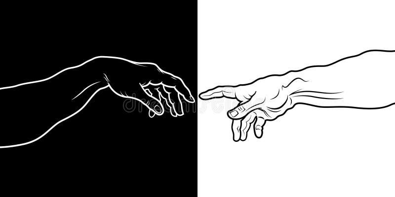 La création d'Adam (fragment noir et blanc) illustration libre de droits