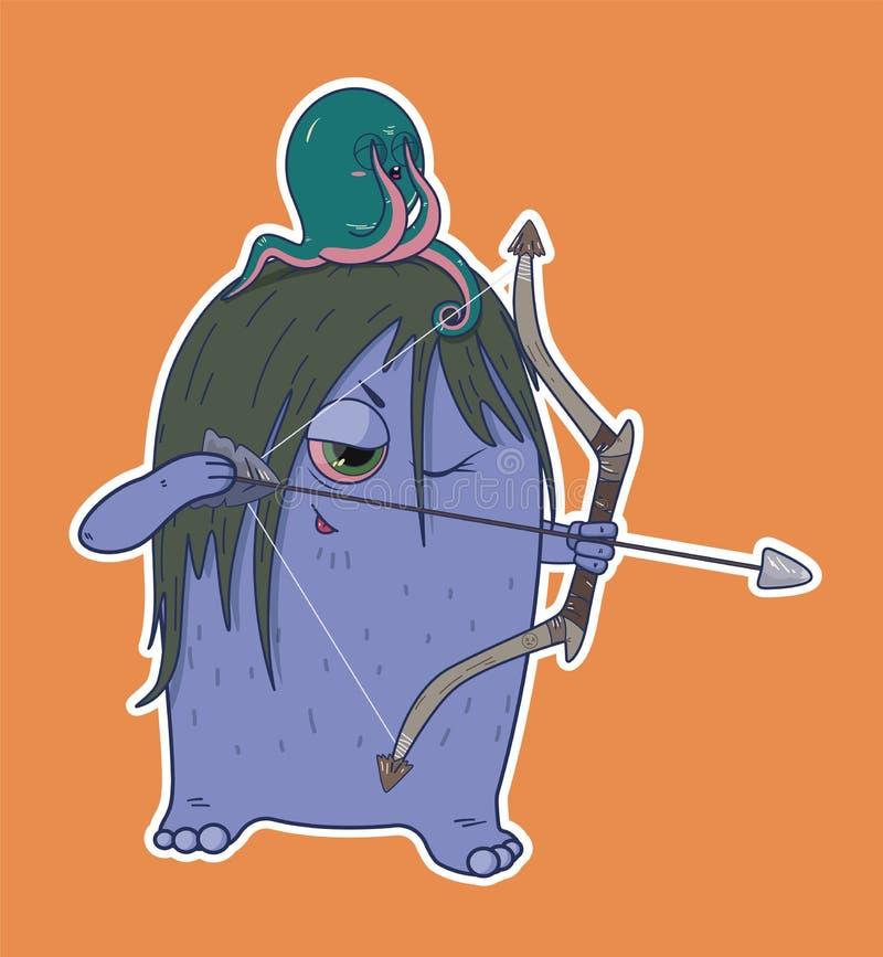La créature sauvage tient un arc de bataille sur la tête d'un poulpe illustration libre de droits