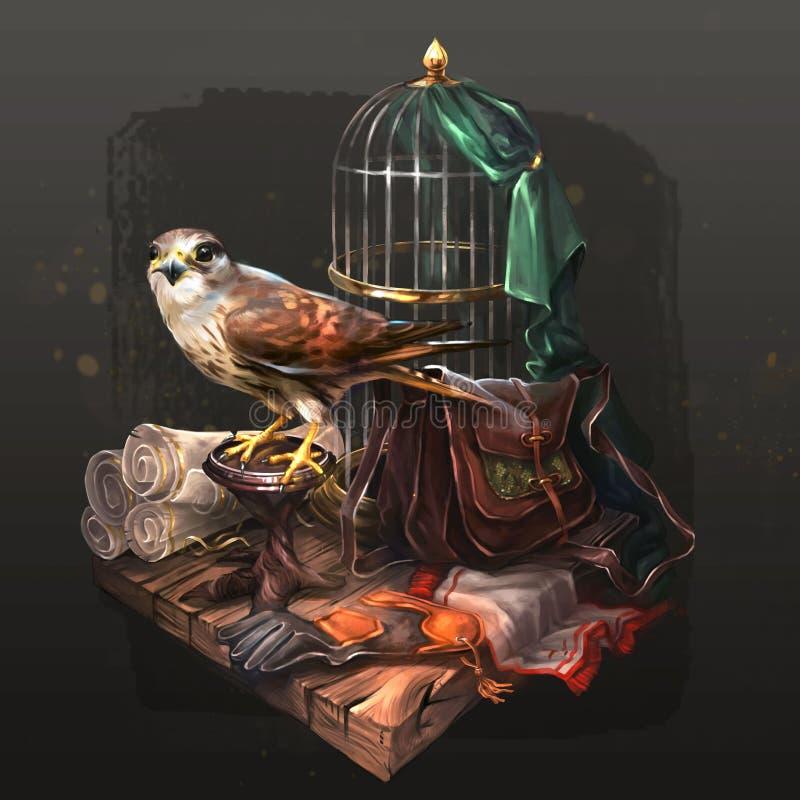 La crécerelle se repose près de sa cage photos stock