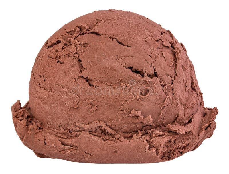 La cr?me glac?e de chocolat ?cope la vue de c?t? sur le fond blanc avec le chemin de coupure photographie stock