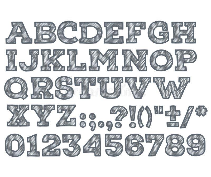La craie a esquissé la police de vecteur rayée d'ABC d'alphabet illustration libre de droits