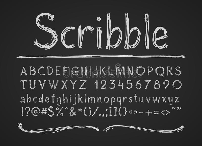 La craie tirée par la main marque avec des lettres des nombres et des symboles Alphabet sur un tableau illustration de vecteur