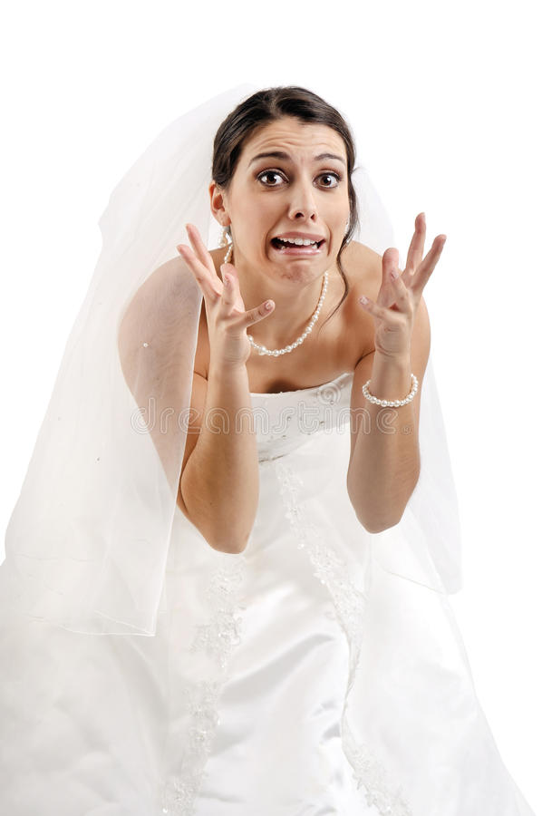 La crainte de la mariée? photographie stock libre de droits