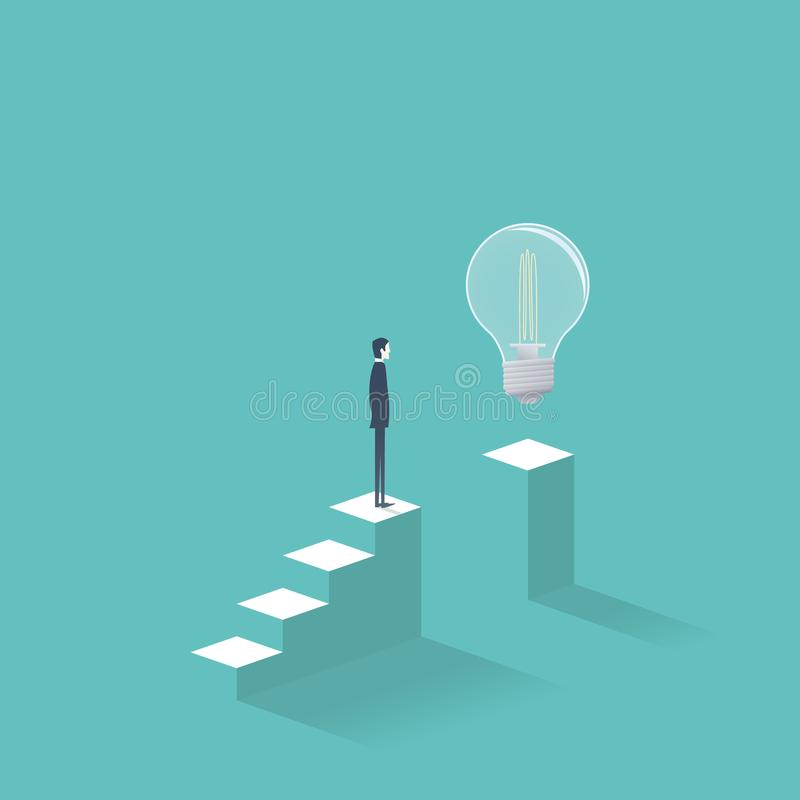 La creatividad del negocio y la solución del hallazgo vector concepto con el hombre de negocios que se coloca en los pasos que in libre illustration