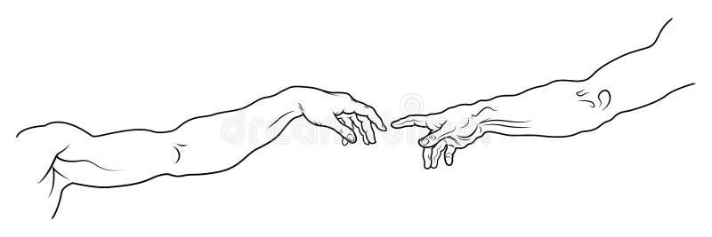 La creazione di Adam Versione completa del frammento lungo illustrazione di stock