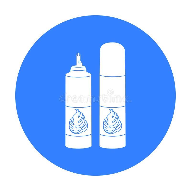 La crema azotada en un aerosol puede icono en estilo negro aislado en el fondo blanco Producto lácteo y acción dulce del símbolo ilustración del vector