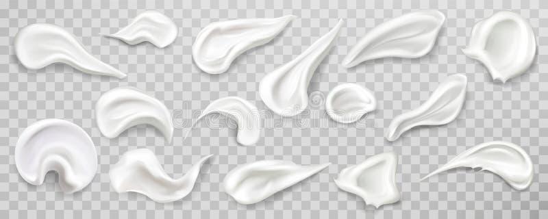 La crema blanca mancha el sistema de la muestra Producto de los cosm?ticos stock de ilustración