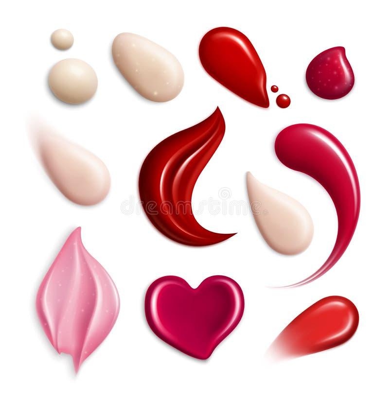 La crema cosmetica di Lipgloss del fondamento spalma l'insieme realistico dell'icona royalty illustrazione gratis