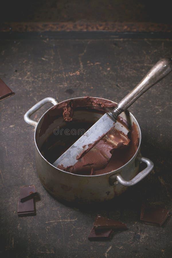 La crema del cioccolato rimane fotografia stock