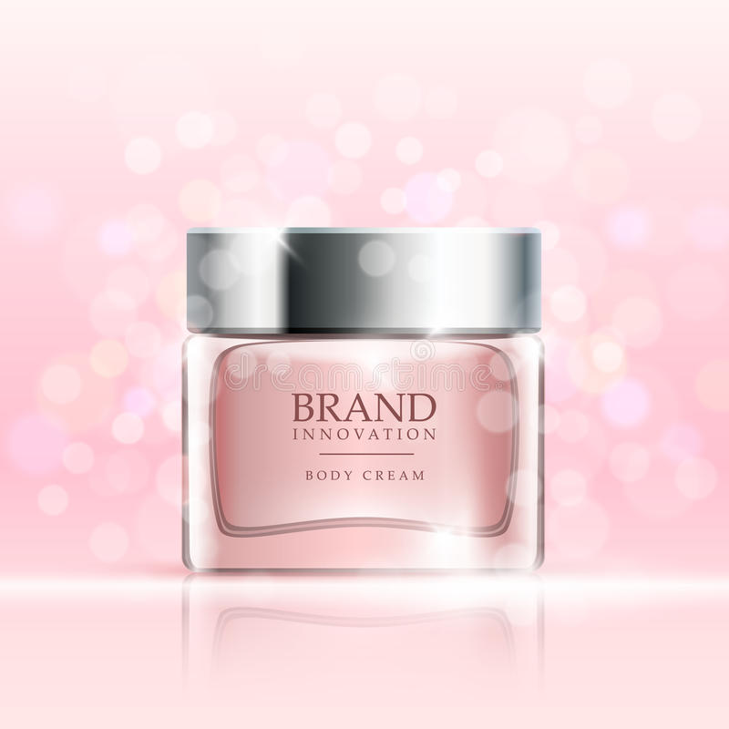 La crema di bellezza sul rosa bolle fondo Concetto di pubblicità di prodotto di cura di pelle per industria cosmetica Vettore royalty illustrazione gratis