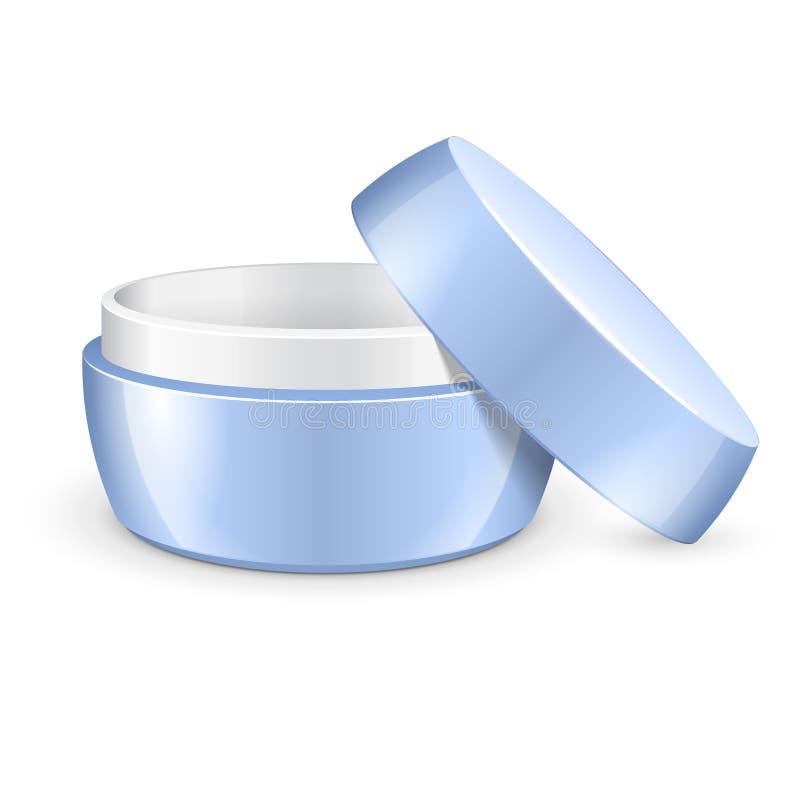 La crema, il gel o la polvere vuoto aperto, barattolo blu-chiaro possono ricoprire la bottiglia Spazio in bianco su fondo bianco illustrazione di stock