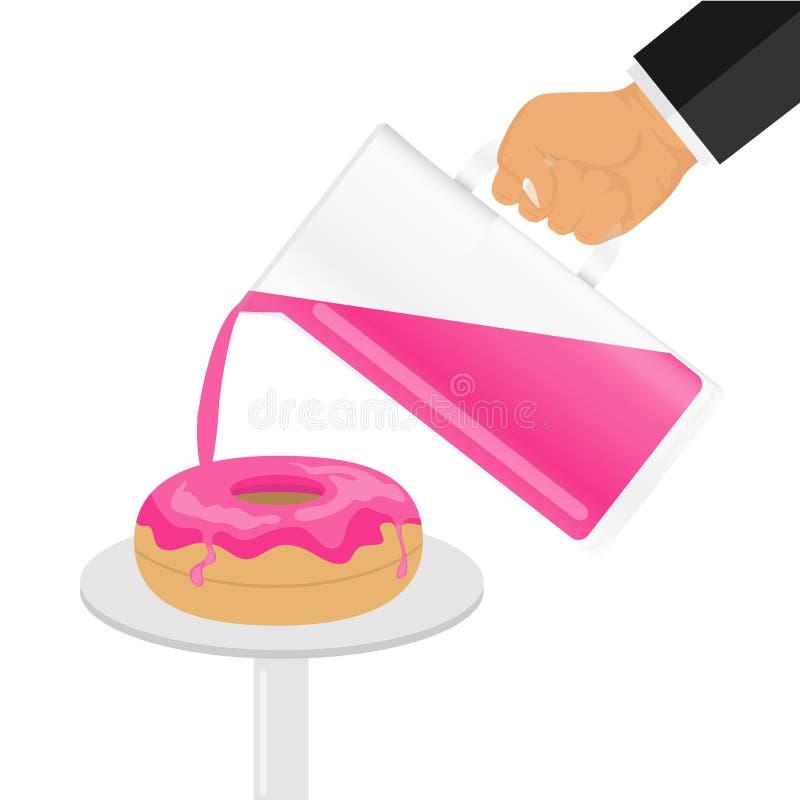 La crema versa sui biscotti Una mano con una brocca con la glassa che innaffia una ciambella royalty illustrazione gratis
