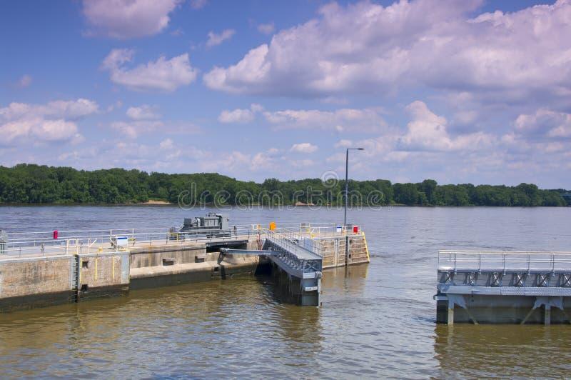 La Crescent Lock and Dam Gates Open stock photos