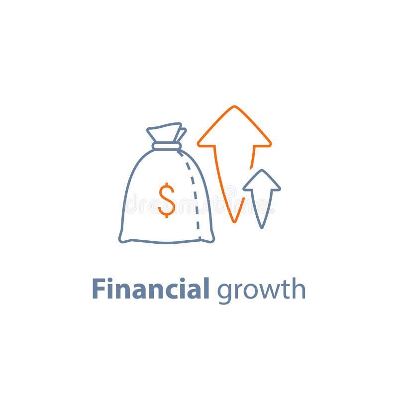 La crescita capitale, l'alto interesse, l'aumento del reddito, l'investimento a lungo termine, profitto finanziario, fa i soldi,  royalty illustrazione gratis