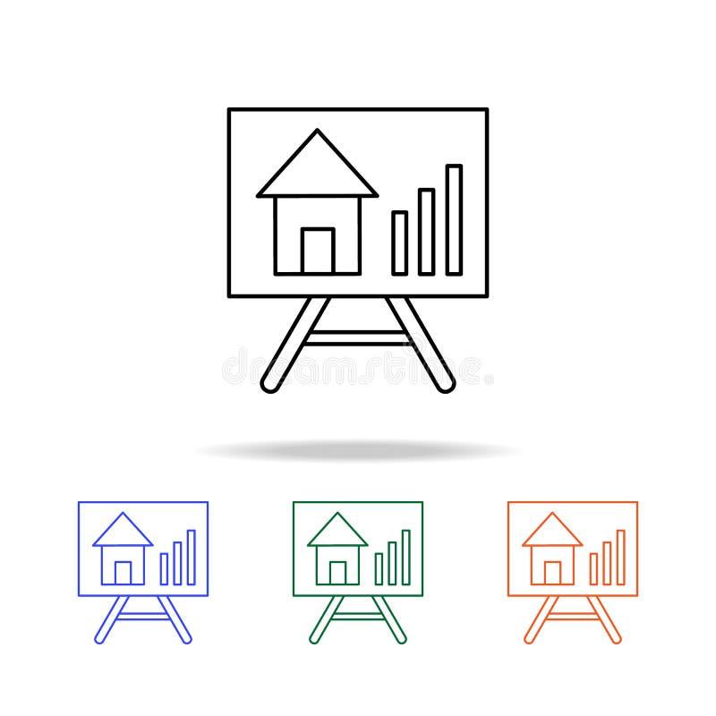La crescita del bene immobile valuta l'icona Elementi del bene immobile nelle multi icone colorate Icona premio di progettazione  illustrazione vettoriale