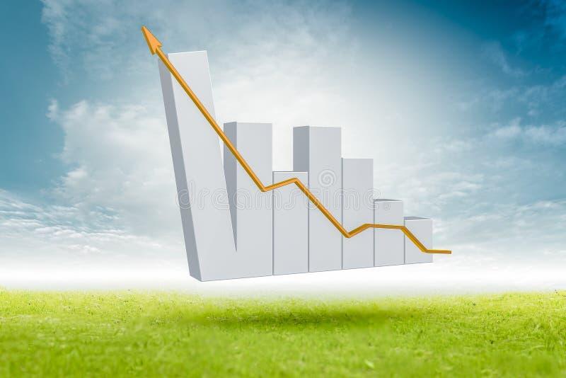 La crescita del grafico commerciale finanziario nei pascoli e nelle statistiche d'impresa verdi dei cieli blu e nel riuscito inve royalty illustrazione gratis