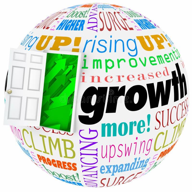 La crescita esprime l'aumento della porta aperta che migliora aumentando più risultati illustrazione di stock